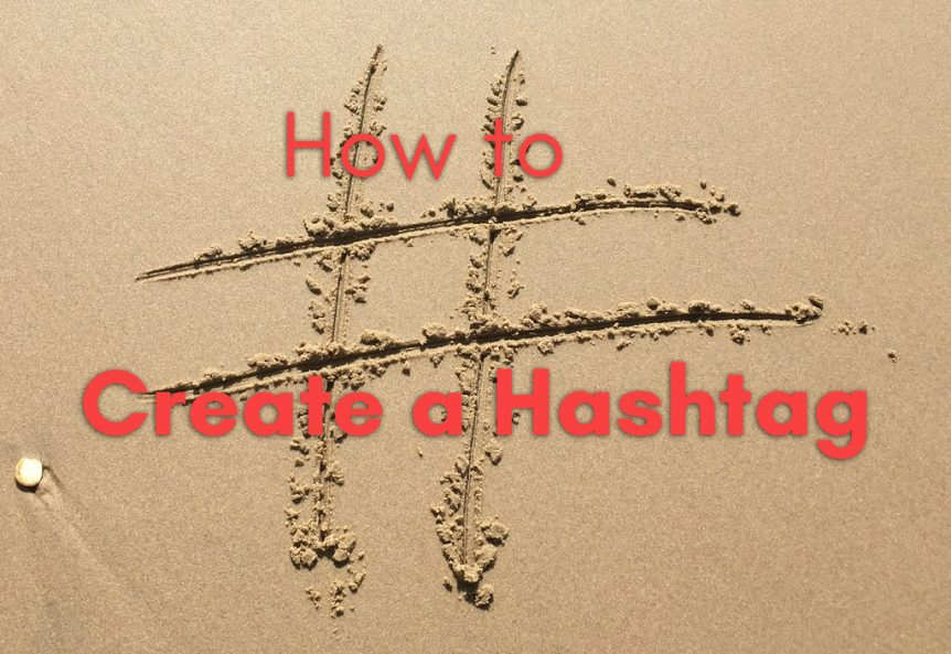 how to create a hashtag with a hashtag drawn in the sand.