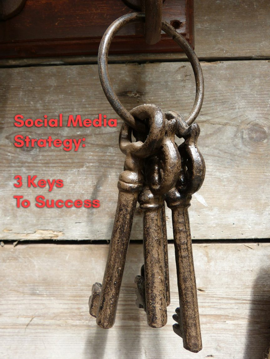 Three keys hanging up representing the keys to success when creating a social media strategy