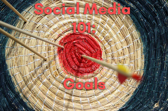 An arrow in a bull's eye representing social media goals.