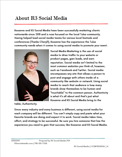 The about page for a sample social media marketing proposal